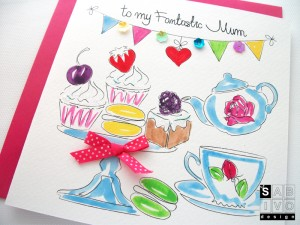 BМ01 Mother's Day Tea Handmade Greeting Card SABIVO Design 800