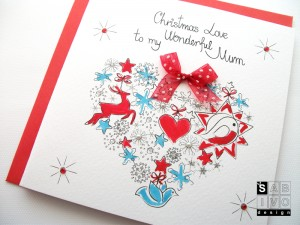 T01 Mum Christmas Handmade Greeting Card SABIVO Design800