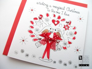 T06 The One I Love Christmas Handmade Greeting Card SABIVO Design800