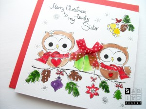 T10 Sister Christmas Handmade Greeting Card SABIVO Design800