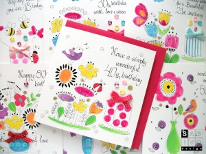 Garden Range Birthday Handmade Greeting Card SABIVO Design L