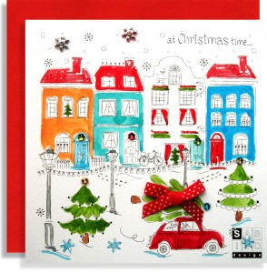 Christmas Bike Car Handmade Greeting Card SABIVO Design