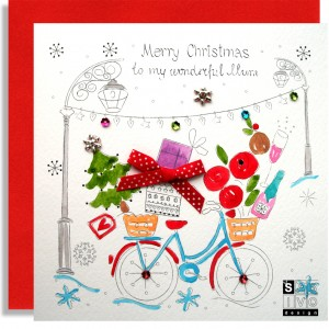 Christmas Bike Mum Handmade Greeting Card SABIVO Design