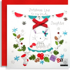 Christmas Bunny Daughter Handmade Card SABIVO Design